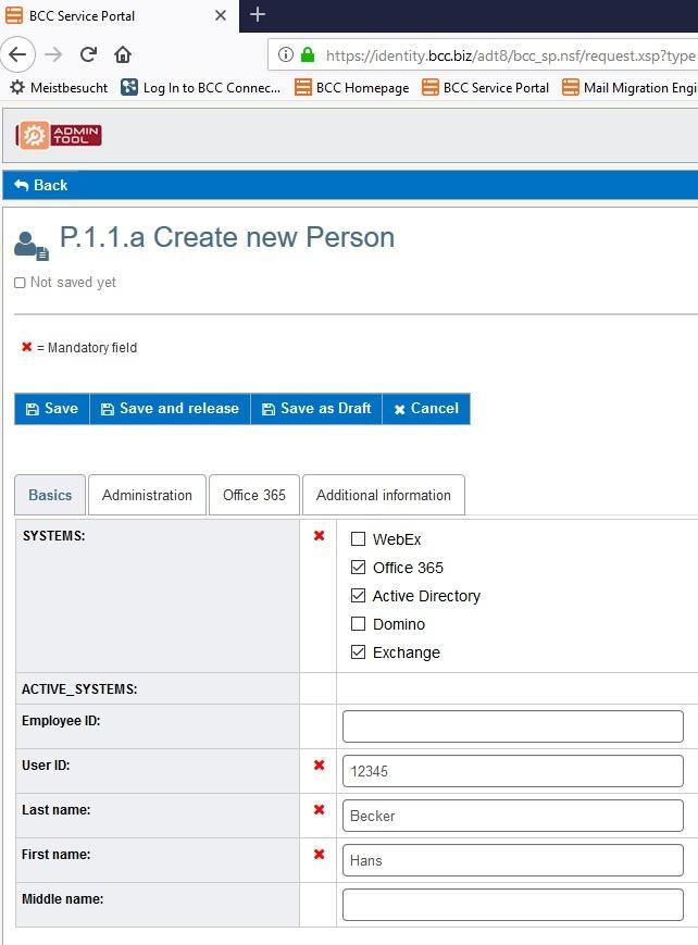 Create new Person